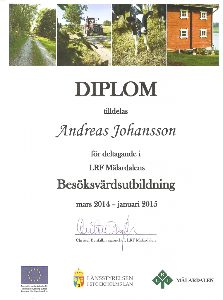 Diplom från besöksvärdsutbildningen.
